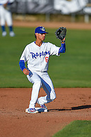 Moises Perez (6) of the Ogden Raptors during the game against the Grand Junction Rockies in Pioneer League action at Lindquist Field on June 20, 2016 in Ogden, Utah. The Rockies defeated the Raptors 5-2. (Stephen Smith/Four Seam Images)