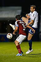 Paul Hayes of Wycombe Wanderers (right) and David Buchanan of Northampton Town (left) during The Checkatrade Trophy match between Northampton Town and Wycombe Wanderers at Sixfields Stadium, Northampton, England on 30 August 2016. Photo by David Horn / PRiME Media Images.