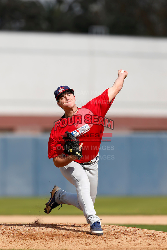 Ian Clarkin of Madison High School in San Diego, California participates in the Southern California scouts game for high school seniors at the Urban Youth Academy on February 9, 2013 in Compton, California. (Larry Goren/Four Seam Images)