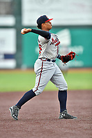 Danville Braves shortstop Kevin Maitan (26) throws first base during a game against the  Johnson City Cardinals at TVA Credit Union Ballpark on July 23, 2017 in Johnson City, Tennessee. The Cardinals defeated the Braves 8-5. (Tony Farlow/Four Seam Images)