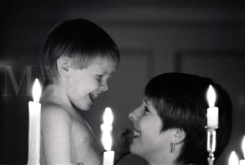 Mother and child share a tender moment
