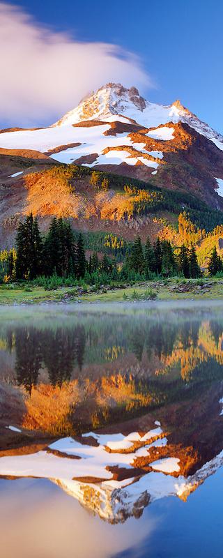 Mt. Jefferson with reflection in Russell Lake. Mt. Jefferson Wilderness, Oregon