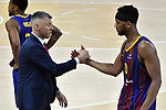 EUROLEAGUE 2020-2021. Playoffs.Game 2.<br /> FC Barcelona vs Zenit St. Petersburg: 81-78.<br /> Sarunas Jasikevicius & Brandon Davies.