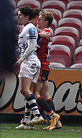 12th February 2021; Kingsholm Stadium, Gloucester, Gloucestershire, England; English Premiership Rugby, Gloucester versus Bristol Bears; Ollie Thorley of Gloucester celebrates scoring a try