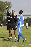 The match referee books the Old George goalkeeper during a Hackney & Leyton League match at Hackney Marshes - 21/09/08 - MANDATORY CREDIT: Gavin Ellis/TGSPHOTO - Self billing applies where appropriate - Tel: 0845 094 6026