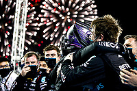 28th March 2021; Sakhir, Bahrain; F1 Grand Prix of Bahrain, Race Day;   Lewis Hamilton GBR, Mercedes-AMG Petronas F1 celebrates his win with his Team, F1 Grand Prix of Bahrain at Bahrain International Circuit