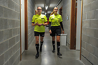 Ben Weyts , Flemish Minister of Sports and Eva Coussement , female referee ,  getting ready before a recruting campaign from Voetbal Vlaanderen to attract more referees and match officials with Flemish minister of Sport Ben Weyts , Sunday 3 October 2021 in Mazenzele Opwijk , Belgium . PHOTO SPORTPIX | STIJN AUDOOREN