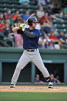 First baseman Jeff Diehl (24) of the Columbia Fireflies bats in a game against the Greenville Drive on Thursday, April 21, 2016, at Fluor Field at the West End in Greenville, South Carolina. Columbia won, 13-9. (Tom Priddy/Four Seam Images)