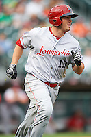 Louisville Bats left fielder Steve Selsky (13) runs to first during a game against the Buffalo Bisons on June 20, 2016 at Coca-Cola Field in Buffalo, New York.  Louisville defeated Buffalo 4-1.  (Mike Janes/Four Seam Images)