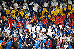 St Johnstone v Galatasaray…12.08.21  McDiarmid Park Europa League Qualifier<br />The St Johnstone fans in the Esat Stand show their support<br />Picture by Graeme Hart.<br />Copyright Perthshire Picture Agency<br />Tel: 01738 623350  Mobile: 07990 594431