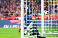 Sevilla FC David Soria and FC Barcelona Samuel Umtiti during King's Cup Finals match between Sevilla FC and FC Barcelona at Wanda Metropolitano in Madrid, Spain. April 21, 2018. (ALTERPHOTOS/Borja B.Hojas)