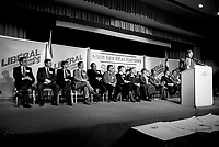 January 1987 File Photo - Montreal, Quebec, CANADA - Liberal Party of Quebec's leader and Quebec Premier Robert Bourassa speak during the Liberal convention at Queen Elizabeth-Hotel January 24-25, 1987