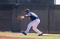 San Diego Padres first baseman Jason Pineda (30) catches a ball during an Instructional League game against the Texas Rangers on September 20, 2017 at Peoria Sports Complex in Peoria, Arizona. (Zachary Lucy/Four Seam Images)