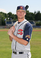 2007:  Erik Huber of the State College Spikes poses for a photo prior to a game vs. the Batavia Muckdogs in New York-Penn League baseball action.  Photo By Mike Janes/Four Seam Images