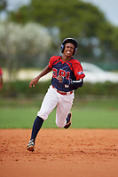 Elian Cortorreal (2) during the Dominican Prospect League Elite Florida Event at Pompano Beach Baseball Park on October 14, 2019 in Pompano beach, Florida.  (Mike Janes/Four Seam Images)