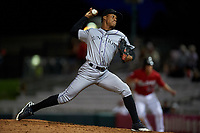 Grand Junction Rockies relief pitcher Juan Mejia (39) during a Pioneer League game against the Billings Mustangs at Dehler Park on August 14, 2019 in Billings, Montana. Grand Junction defeated Billings 8-5. (Zachary Lucy/Four Seam Images)