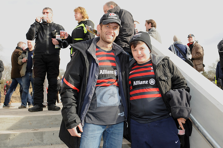 20130216 Copyright onEdition 2013©.Free for editorial use image, please credit: onEdition..Fans enjoying the facilities at the new stadium before the Premiership Rugby match between Saracens and Exeter Chiefs at Allianz Park on Saturday 16th February 2013 (Photo by Rob Munro)..For press contacts contact: Sam Feasey at brandRapport on M: +44 (0)7717 757114 E: SFeasey@brand-rapport.com..If you require a higher resolution image or you have any other onEdition photographic enquiries, please contact onEdition on 0845 900 2 900 or email info@onEdition.com.This image is copyright onEdition 2013©..This image has been supplied by onEdition and must be credited onEdition. The author is asserting his full Moral rights in relation to the publication of this image. Rights for onward transmission of any image or file is not granted or implied. Changing or deleting Copyright information is illegal as specified in the Copyright, Design and Patents Act 1988. If you are in any way unsure of your right to publish this image please contact onEdition on 0845 900 2 900 or email info@onEdition.com
