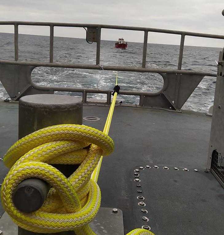 Aran Islands lifeboat tows the angling boat back to Kilronan Harbour