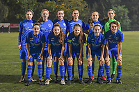 KRC Genk ladies teampicture ( Genk's midfielder Lorene Martin (6) , Genk's forward Carolina Wolters (9) , Genk's defender Sterre Gielen (14) , Genk's defender Fleur Bienkens (23) , Genk's forward Britt Labro (17) , Genk's goalkeeper Joséphine Delvaux (1) and Genk's defender Silke Sneyers (2) , Genk's midfielder Emily Steijvers (33) , Genk's midfielder Sien Vandersanden (10) , Genk's midfielder Jorien Voets (20) , Genk's forward Lotte Van Den Steen (15) ) before a female soccer game between  Racing Genk Ladies and Oud Heverlee Leuven on the fourth matchday of the 2020 - 2021 season of Belgian Scooore Womens Super League , friday 9 th of October 2020  in Genk , Belgium . PHOTO SPORTPIX.BE | SPP | STIJN AUDOOREN