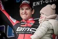 Greg Van Avermaet (BEL/BMC) & daughter on the podium<br /> <br /> 72nd Omloop Het Nieuwsblad 2017