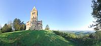 France, Saône-et-Loire (71), Saint-Racho, montagne de Dun, chapelle de Dun, vue panoramique// France, Saône-et-Loire, Saint-Racho, mountain of Dun, chapel of Dun, panoramic view