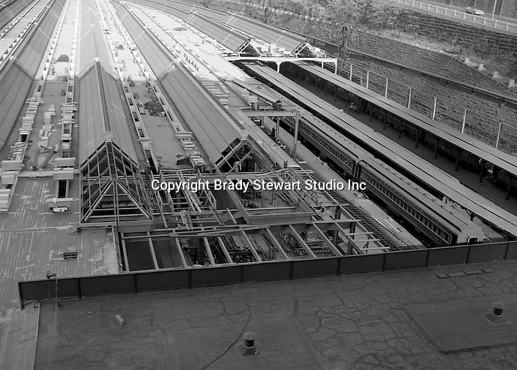 Pittsburgh PA:  View of construction work on the roof of Pittsburgh's Penn Station.  Brady Stewart Studio was a contract photographer for the Pennsylvania Railroad from 1950 thru 1964.