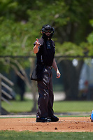 Umpire Tanner Dobson calls a strike during a Florida State League game between the Jupiter Hammerheads and Dunedin Blue Jays on May 16, 2019 at Jack Russell Memorial Stadium in Clearwater, Florida.  Dunedin defeated Jupiter 1-0.  (Mike Janes/Four Seam Images)