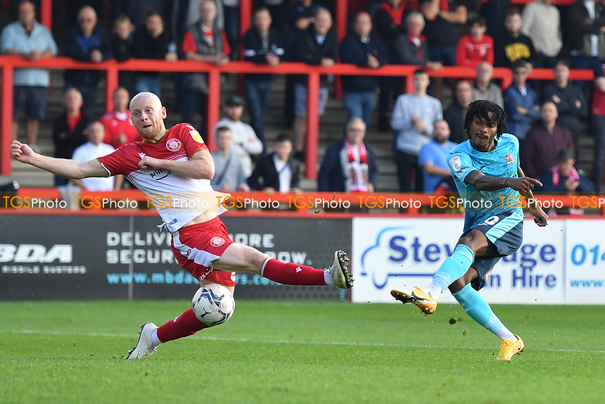 Jevani Brown of Exeter City shot is blocked by Jake Taylor of Stevenage FC during Stevenage vs Exeter City, Sky Bet EFL League 2 Football at the Lamex Stadium on 9th October 2021