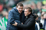 Celtic v St Johnstone…18.02.18…   Celtic Park    SPFL<br />Brendan Rodgers and Tommy Wright shake hands before kick off<br />Picture by Graeme Hart. <br />Copyright Perthshire Picture Agency<br />Tel: 01738 623350  Mobile: 07990 594431