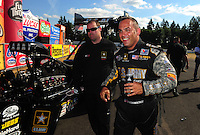 Aug. 7, 2011; Kent, WA, USA; NHRA top fuel dragster driver Tony Schumacher during the Northwest Nationals at Pacific Raceways. Mandatory Credit: Mark J. Rebilas-