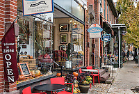 Quaint shops in autumn, Lititz, Lancaster County, Pennsylvania, USA