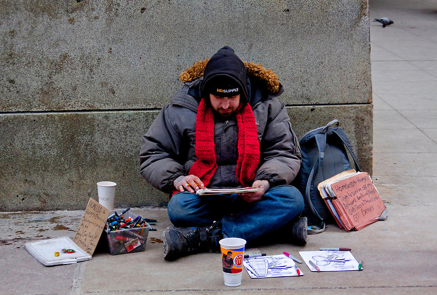 Images of homeless people in downtown Chicago