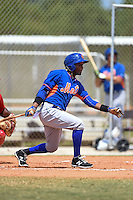 New York Mets John Mora (4) during a minor league spring training game against the St. Louis Cardinals on April 1, 2015 at the Roger Dean Complex in Jupiter, Florida.  (Mike Janes/Four Seam Images)