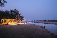 Exterior view of Chinzombo Safari Lodge, Luangwa River Valley. Zambia, Africa