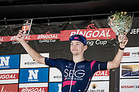 'Hero of the day' Milan Paulus (BEL/SEG) on the podium<br /> <br /> 55th Grote Prijs Jef Scherens - Rondom Leuven 2021 (BEL)<br /> One day race from Leuven to Leuven (190km)<br /> ridden over the final circuit of the 2021 World Championships road races <br /> <br /> ©kramon