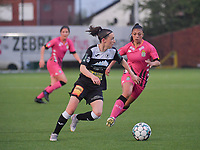 Anke Vanhooren (7) of Eendracht Aalst and Jessica Silva Valdebenito (18) of Sporting Charleroi in action pictured during a female soccer game between Sporting Charleroi and Eendracht Aalst on the 8th matchday in play off 2 of the 2020 - 2021 season of Belgian Scooore Womens Super League , tuesday 18 th of May 2021  in Marcinelle , Belgium . PHOTO SPORTPIX.BE   SPP   STIJN AUDOOREN
