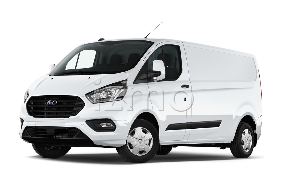 Stock pictures of low aggressive front three quarter view of 2021 Ford Transit-Custom Trend 4 Door Cargo Van Low Aggressive