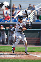 Mahoning Valley Scrappers third baseman Nolan Jones (10) at bat during the second game of a doubleheader against the Auburn Doubledays on July 2, 2017 at Falcon Park in Auburn, New York.  Mahoning Valley defeated Auburn 3-2.  (Mike Janes/Four Seam Images)