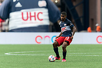 FOXBOROUGH, MA - AUGUST 8: Maciel #13 of New England Revolution passes the ball during a game between Philadelphia Union and New England Revolution at Gillette Stadium on August 8, 2021 in Foxborough, Massachusetts.