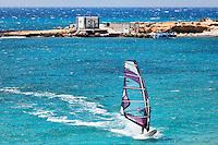 Windsurfing in Agrillaopotamos of Karpathos, Greece