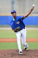 GCL Blue Jays pitcher Angel Perdomo (51) delivers a pitch during a game against the GCL Yankees 2 on July 2, 2014 at the Bobby Mattick Complex in Dunedin, Florida.  GCL Yankees 2 defeated GCL Blue Jays 9-6.  (Mike Janes/Four Seam Images)
