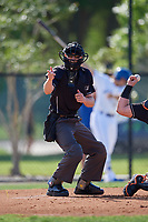 Umpire Tanner Dobson calls a strike during a Florida State League game between the Jupiter Hammerheads  and Dunedin Blue Jays on May 15, 2019 at Jack Russell Memorial Stadium in Clearwater, Florida.  Jupiter defeated Dunedin 5-1 in seven innings, the first game of a doubleheader.  (Mike Janes/Four Seam Images)