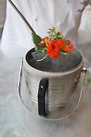 """urope/France/Rhône-Alpes/74/Haute Savoie/ Evian: Michel Lentz chef du restaurant """"Les Fresques Royales"""", au Royal Hôtel cuisine à l'azote liquide herbes et fleurs des alpages"""