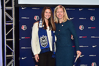 Los Angeles, CA - Thursday January 12, 2017: Arielle Ship, NWSL Managing Director of Operations Amanda Duffy during the 2017 NWSL College Draft at JW Marriott Hotel.