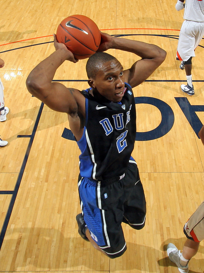 Feb. 16, 2011; Charlottesville, VA, USA; Duke Blue Devils guard Nolan Smith (2) prepares to shoot the ball during the second half of the game against the Virginia Cavaliers at the John Paul Jones Arena. The Duke Blue Devils won 56-41.  Credit Image: © Andrew Shurtleff