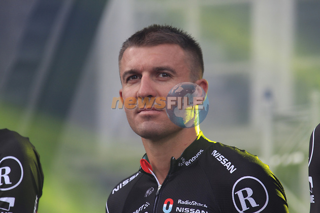 Radioshack-Nissan team rider Yaroslav Popovych (UKR) on stage at the Team Presentation Ceremony before the 2012 Tour de France in front of The Palais Provincial, Place Saint-Lambert, Liege, Belgium. 28th June 2012.<br /> (Photo by Eoin Clarke/NEWSFILE)