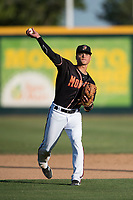 Modesto Nuts shortstop Bryson Brigman (8) makes a throw to first base during a California League game against the San Jose Giants at John Thurman Field on May 9, 2018 in Modesto, California. San Jose defeated Modesto 9-5. (Zachary Lucy/Four Seam Images)