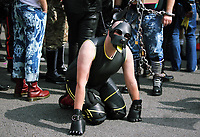 A man dressed in a leather outfit joins thousands of people in this year's Pride Parade in the centre of Cardiff, Wales, UK. Sayurday 26 August 2017