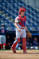 Reading Fightin Phils catcher Austin Bossart (18) during the second game of a doubleheader against the Portland Sea Dogs on May 15, 2018 at FirstEnergy Stadium in Reading, Pennsylvania.  Reading defeated Portland 9-8.  (Mike Janes/Four Seam Images)