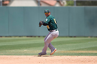 Oakland Athletics shortstop JC Rodriguez (41) prepares to make a throw to first base during an Extended Spring Training game against the San Francisco Giants Orange at the Lew Wolff Training Complex on May 29, 2018 in Mesa, Arizona. (Zachary Lucy/Four Seam Images)